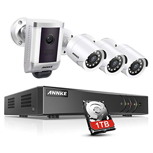 ANNKE Security Camera System for Home 5 in 1 8CH H.265 Pro+ 3MP DVR with 1TB HDD 1x PIR Spotlight Cam 3X 1080P HD Weatherproof CCTV Camera for Outdoor Use, Email Alert with Snapshots Smart Playback