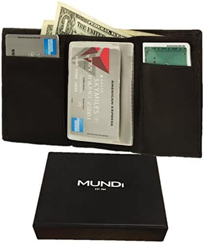MUNDI Mens Classic Soft Antique Leather Trifold Wallet Gift Box & Plastic Insert