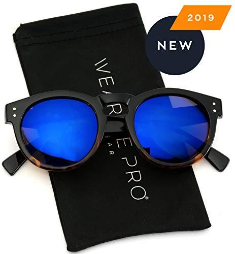 (Vintage Inspired Mirror Lens Round Horned Rim Frame Retro Sunglasses)