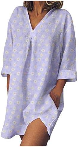 Houshelp Womens Floral Print Long Shirt Dress Blouse Mini Dress V Neck Swing Casual T-Shirt Tunic DressPockets