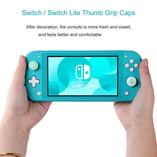 Tscope Cute Thumb Grip Caps for Nintendo Switch/Switch Lite Controller, Animal Crossing Consolo Joystick Analog Soft Silicone Tree Leaf Covers for Joy-Cons NS Accessories (Blue + Green)