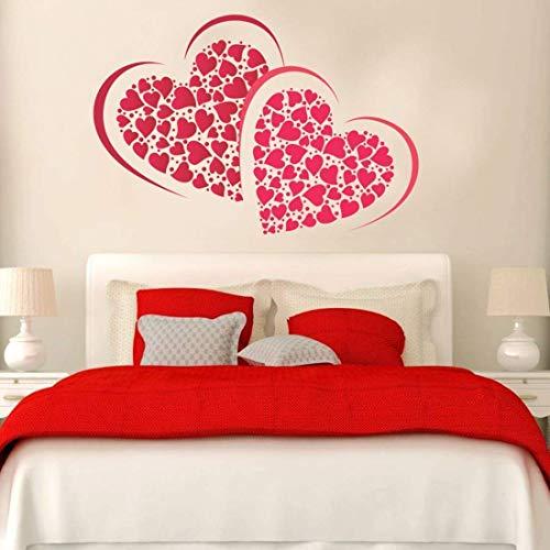 PRINTELLIGENT Wall Sticker Heart Love Decorative Wall Vinyl Stickers for Valentine Anniversary red...