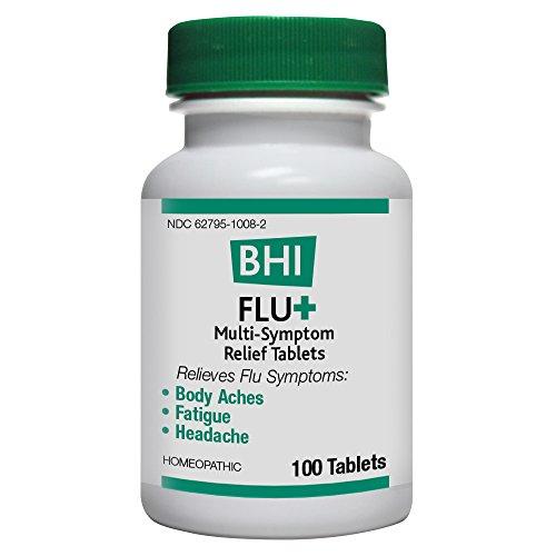 BHI Flu+ Tablets for Multi-Symptom Relief of Minor Flu Symptoms: Body Aches, Fatigue and Headache - Homeopathic Formula - 100 Count