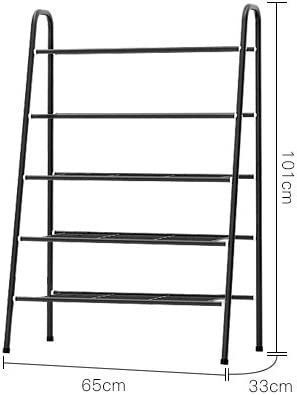 ease Home Modern Minimalist Metal Shoe Rack (5-Tier, Black)