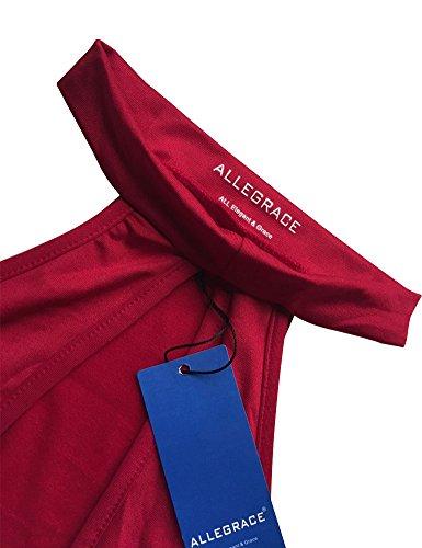 Allegrace Womens Manches Longues Sexy Épaule De Soirée Moulante Bandage Robes Club Vin Rouge