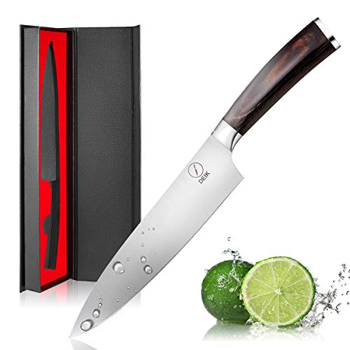 Deik Chef Knife, High Carbon Stainless Steel Kitchen Knife, Super Sharp Chef's Knife with Wood Handle, 8 Inch Cooking Knife for Professional Use