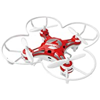 SBEGO FQ777-124 Micro Pocket Drone 4CH 6Axis Gyro With Switchable Controller and 3D Flip Headless Mode One Key Return Mini Quadcopter for Kids Toys (Red)