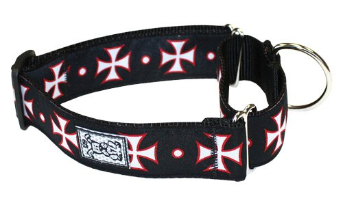RC Pet Products 1-1/2-Inch All Webbing Martingale Dog Collar, Medium, Maltese Cross