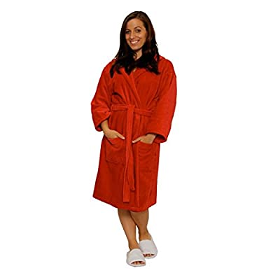 TowelRobes Terry Velour Hooded 100% Cotton Absorbent Robe Women's Men's Red Robes