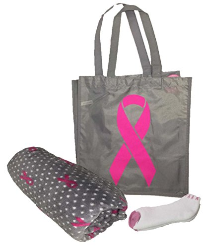 FB Merchandising Breast Cancer Awareness Pink Ribbon Chemo Gift Bundle - Plush Throw 50 x 60 Socks Love Live Hope Tote Bag (Grey Wtith Pink Ribbons) Breast Cancer Awareness Bags