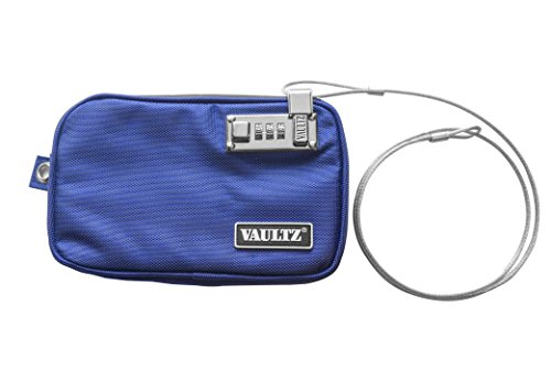 Vaultz Locking Pool Pouch with Tether, Small, 5 x 8 Inches, Blue (VZ00723)