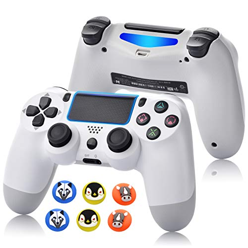 Game Controller for PS4,Wireless Controller for Playstation 4 with Dual Vibration Game Joystick (White) (Color: Black)