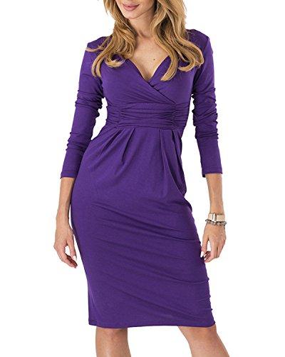 Femmes Kenancy Enveloppe Extensible Occasionnels V-cou Longue Robe Crayon À Manches Violet
