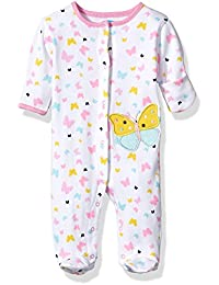 Baby Girls' 1 Pc Footed Coverall With Fold Back Mitten Covers