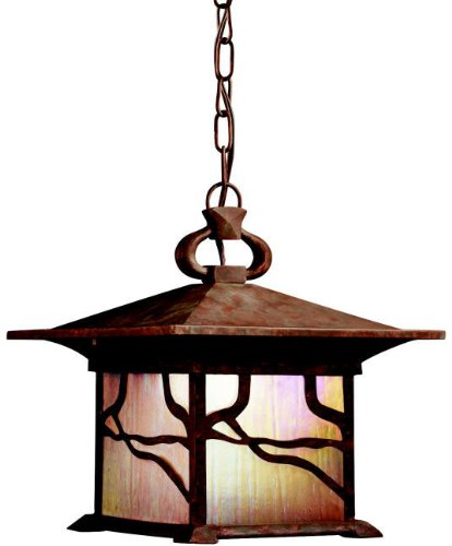 Kichler Lighting 9837DCO Morris 1-Light Incandescent Outdoor Pendant, Distressed Copper Finish with Inside-Etched Iridized Seedy Glass
