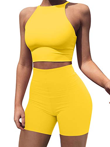 BEAGIMEG Women's Sexy 2 Pieces Outfit Halter Crop Top Bodycon Shorts Set Yellow