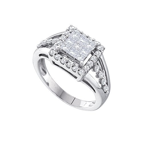 - 14kt White Gold Womens Princess Diamond Square Frame Cluster Ring 1.00 Cttw