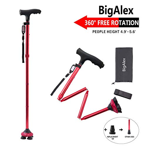Red Walking Stick - BigAlex Folding Walking Cane with LED Light,Pivoting Quad Base,Adjustable Walking Stick with Carrying Bag for Man/Woman (4.9'-5.6' Red )