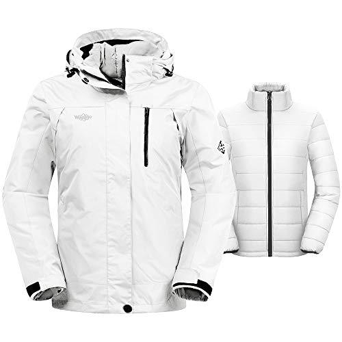 Wantdo Women's Warm Windproof 3-in-1 Jacket Hooded Waterproof Ski Coat White XL (Xl Size Womens Ski Jacket)