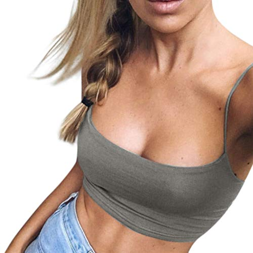 QueenBB Women's Camisole Solid Color Vest Cotton Strappy Basic Crop k Tops Girls k Tops Gray
