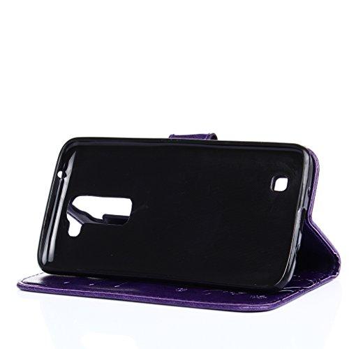 Trumpshop Smartphone Carcasa Funda protección para LG K10 (2017) + Verde + PU Cuero Caja Protector Billetera con la Ranura la Tarjeta Choque Absorción Púrpura