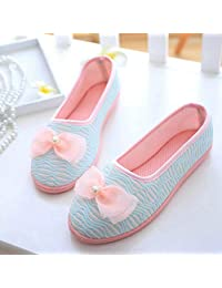 ZYGAJ Blue/Pink Bow Flat Shoes Ladies Cotton Slippers Ladies Spring/Autumn/Summer Ladies Shoes