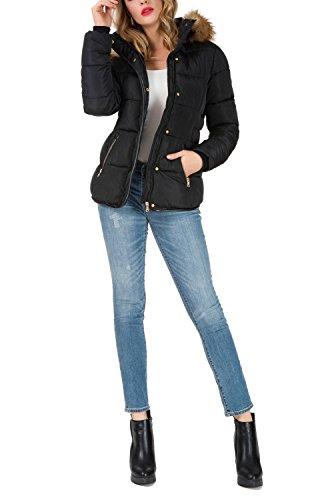 Noir Femme Blouson Capuche Jacket Fourrure Noir Doudoune avec Veste Fausse Chaud Hiver AKD Courte Amovible Manteau Parka nWwHxfOaB