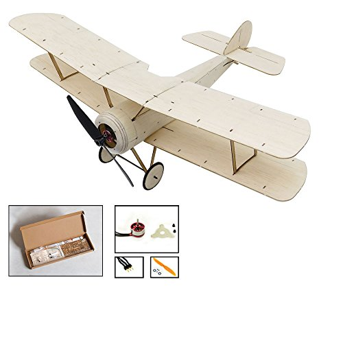 Balsa Wood Micro 3CH Indoor Electric Biplane Sopwith Pup 378mm Wingspan by DW Hobby; Remote Control Balsa Laser-Cutting KIT to Build for Adults (K0602)