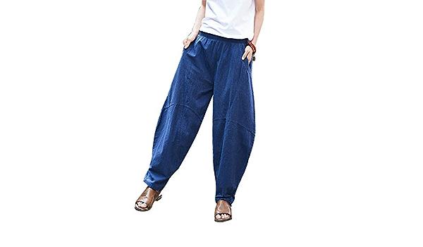 Pantalones Harem Informales De Lino De Talle Alto Pantalones ...