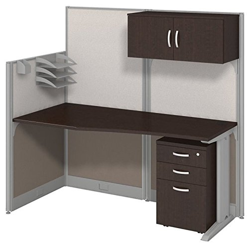 Bush Business Furniture Office in an Hour 65W x 33D Cubicle Workstation with Storage in Mocha - Privacy Cubicle Desk