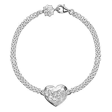 DOWER & HALL Cherish Silver Engravable Flat Star Double Chain Bracelet of 18.5cm MJi14enxYc