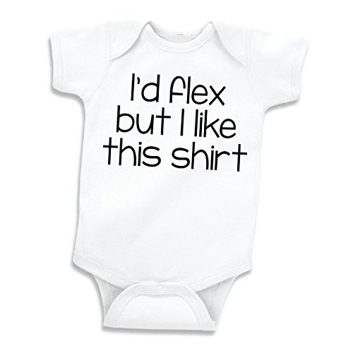 (Bump and Beyond Designs I'd Flex But I Like This Shirt, Funny Baby Clothes, Cute Weightlifting Bodysuit (6-12 Months) Black)