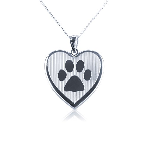 Baby Heart Locket (Dog Paw Heart Shape Photo Locket Pendant, Sterling Silver with Necklace Chain by Silver on the Rocks)