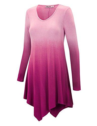 [LL WT1050 Womens V Neck Long Sleeve Dip Dye Handkerchief Hem Tunic Top L FUCHSIA] (Long Sleeve Print Tunic)