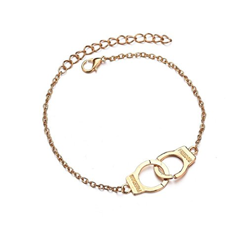Doinshop Gold Silver Ankle Bracelets For Women Beach Handcuffs Adjustable Chain Foot Beach Lover Jewelry