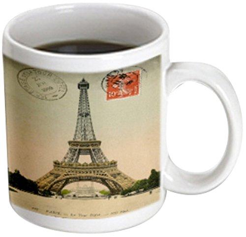 3dRose Image of 1909 Paris Postcard with Eiffel Tower and Stamp - Magic Transforming Mug, 11oz. (mug_171758_3)