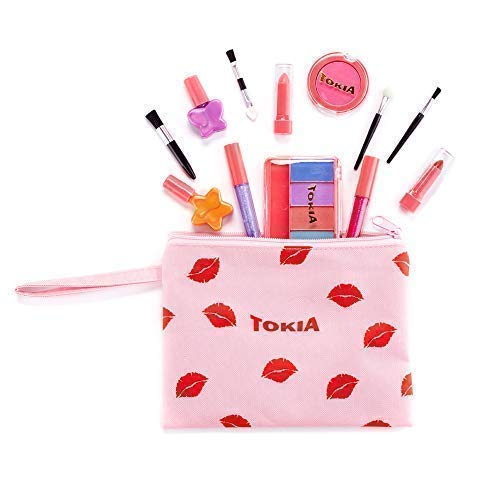TOKIA Kids Makeup Kit for Girl, Washable Non-Toxic Play Makeup Set with Cosmetic Bag -