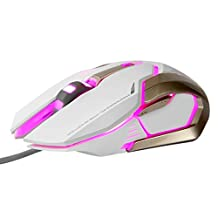 GranVela® M639 Programmable 4000 DPI High Precision USB Wired Gaming Mouse,6 Buttons,With 5 Color LED Lights (White)