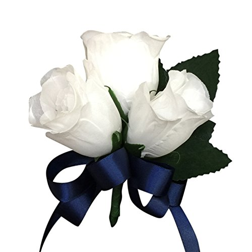 (Pin Corsage-white Rose Bud with Navy Blue Ribbon(ribbon Color Can Be Changed))