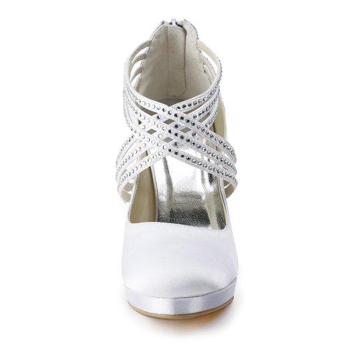 Marca Imitación Bodas Blanco Zapatos Modelo Cruzadas Diamantes Alto Satén Tacón Con Bandas Y Ideales Mujer; Cerrada Punta De Para Elegantpark Ep11085 HqHPxnrf7
