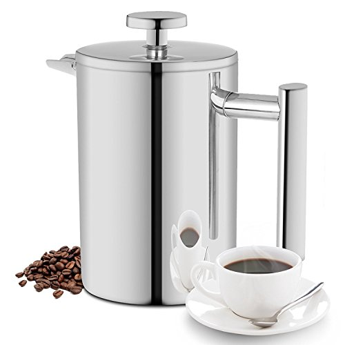 350ML French Press, Double Wall Insulated 18/10 Stainless Steel Coffee Maker, 12oz