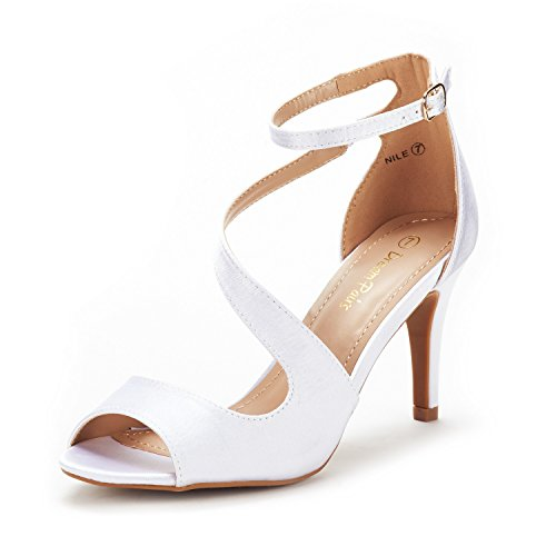 DREAM PAIRS Women's Nile White Satin Fashion Stilettos Open Toe Pump Heel Sandals Size 7.5 B(M) US