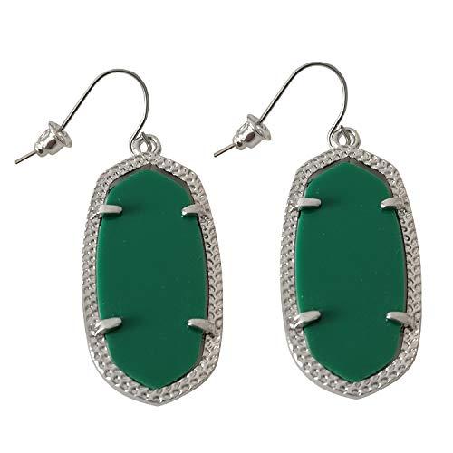 Zoomnovo Popular Fashion Women Drop Dangle Oval Rhombic Earrings Rhodium Plated (Green) ()