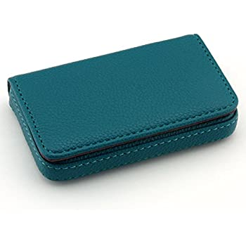 Amazon leather business name card holder case wallet credit partstocktm flip style leather business name card wallet holder 25 cards case 4l x 28w inches with magnetic shutblue reheart Images