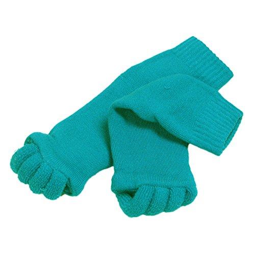 それぞれ硬さモバイルくつろぎ スリーピングソックス 足指全開 足指ソックス 男女兼用 カラータイプ (グリーン)
