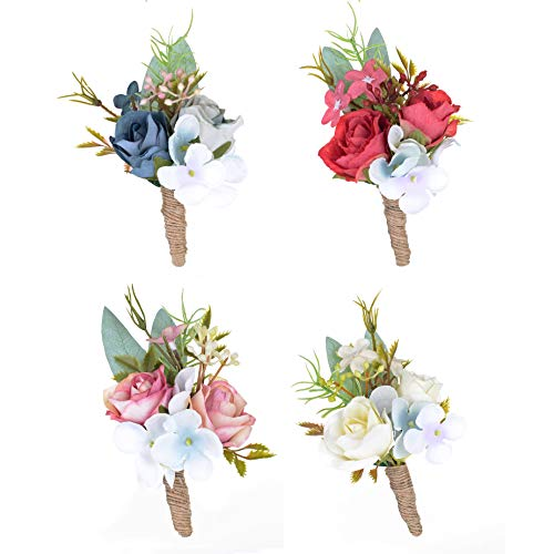 Breeze Talk Prom Corsage Boutonnieres Artificial Flowers Brooch Banquet Corsage with Pin Groom Flower for Wedding Party Man Suit Decoration (Style B - 4pcs boutonnieres - Combination Package No.1)