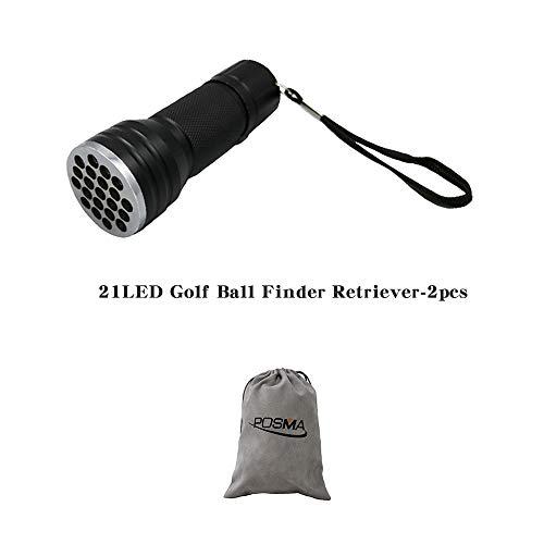 POSMA GBT020A 21LED Golf Ball Finder Retriever Torch Ultraviolet UV Flashlight 2pcs Bundle Gift Set Flannel Gift Bag 2nd Generation Golf Ball Finder Torch