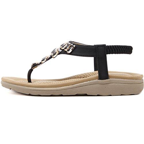 Thong Flip Sandals Shoes Bohemian Black Rhinestone Flop Slip on Women's SAGUARO Flat Beach Summer qw8Pna