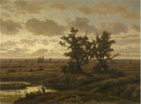 Oil Painting 'Jean Pierre Francois Lamoriniere - Marsh Near Putte, 19th Century' 30 x 41 inch / 76 x 103 cm , on High Definition HD canvas prints, gifts for - Of Coupon Romance Touch A