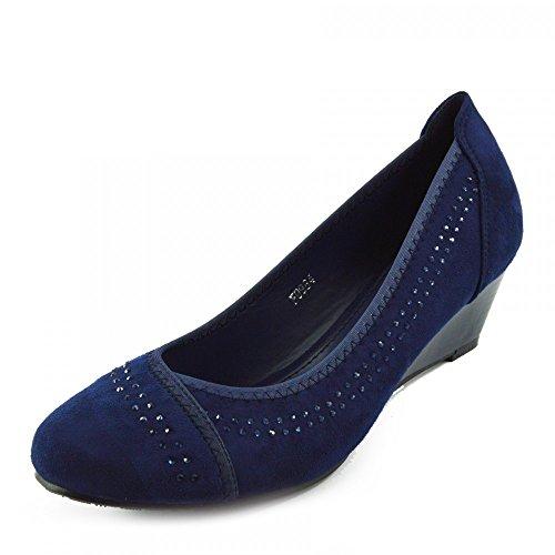 Kick Footwear - WOMENS FAUX SUEDE LOW HEEL WEDGE CASUAL ARBEIT SCHICKE PUMPS Navy